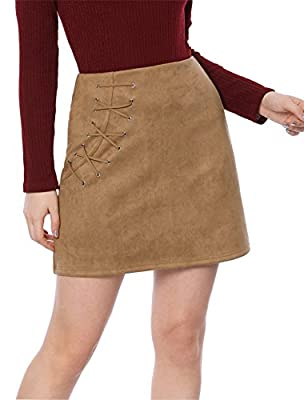 Allegra K Women's Eyelet Lace-up High Waist Faux Suede A-Line Short Mini Skirt