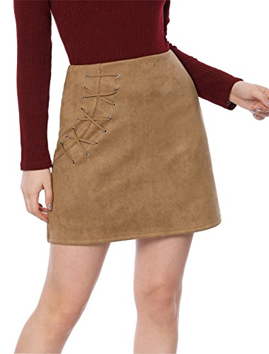 Allegra K Women's Eyelet Lace-up Faux Suede A-line Mini Skirt S (Suede Eyelet)