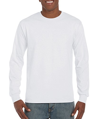 Gildan Men's Ultra Cotton Jersey Long Sleeve Tee, White, X-Large
