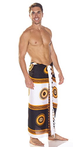 1 Tiki Negro Sarongs Mundo Blanco Sarong Men's Abstract TBqpBwS