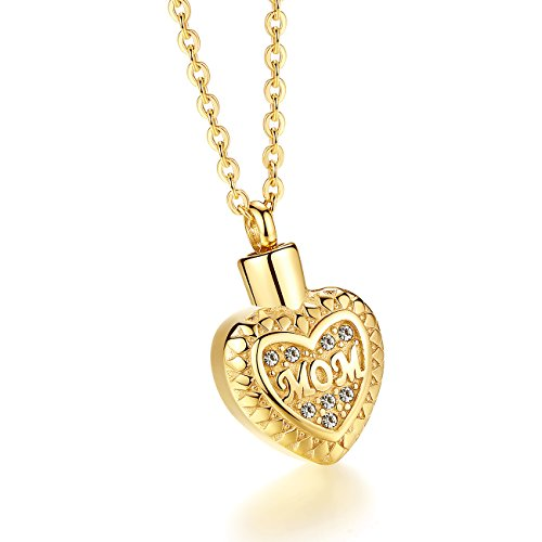 Molike Stainless Steel Mom in Heart Cremation Necklace Ashes Urn Memorial Pendant Jewelry for Women Girl (Gold) (Mom Holder Gold Charm)