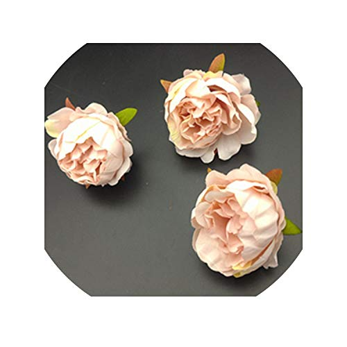 (Sweet-Candy artifical flowers 5 pcs Artificial Rose Flower Heads for Flower Walls Wedding Home Decorations DIY Christmas Wreath Crafts Silk Peony Flower Heads,Meat)
