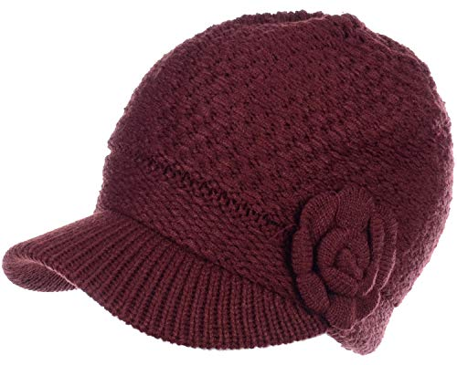 - BYOS Womens Winter Warm Fleece Lined Knitted Beret Beanie Hat Cap w/Visor, Various Styles (Waffle Knit W/Flower - Burgundy)