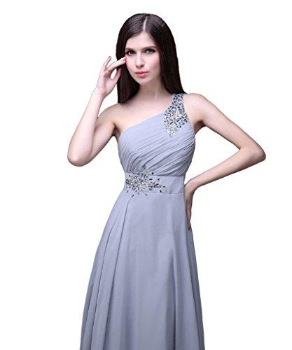 eine Schulter Kmformals Silber lange Damen Kleider prom CwZ5x1qv