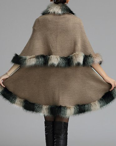 fourrure Style couche Cap double Couches Chaud Cape fausse Helan femmes Kaki wqIEaa