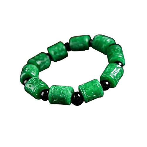 Natural Myanmar Emerald Jade Carved Beads Bracelet Vintage