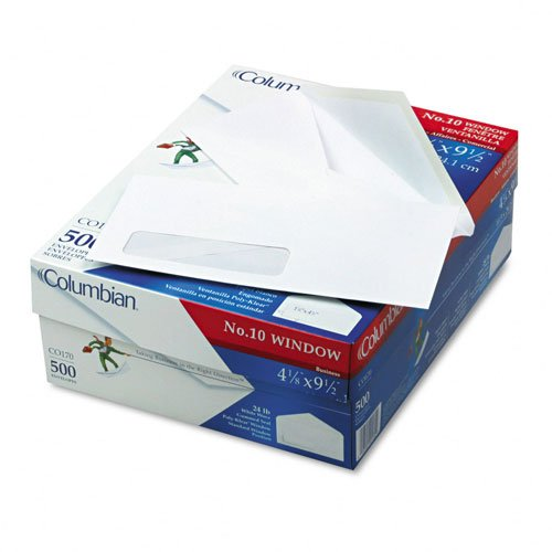 Columbian #10 Business Envelopes, Left Window, 4-1/8 x 9-1/2 Inch, 500 Per Box, White (CO170) ()