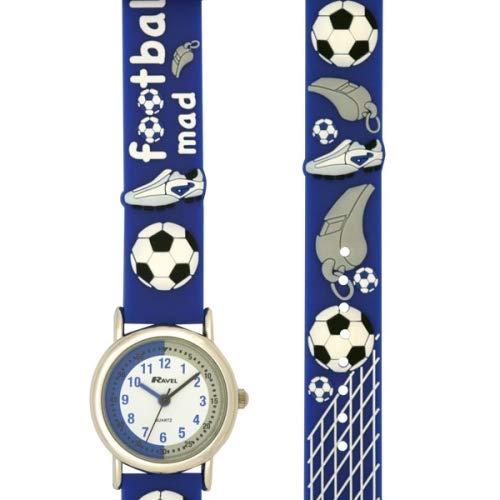 Amazon.com: Ravel Football Time Teacher White Dial Kids - Boys Blue Watch R1513.32B: Watches