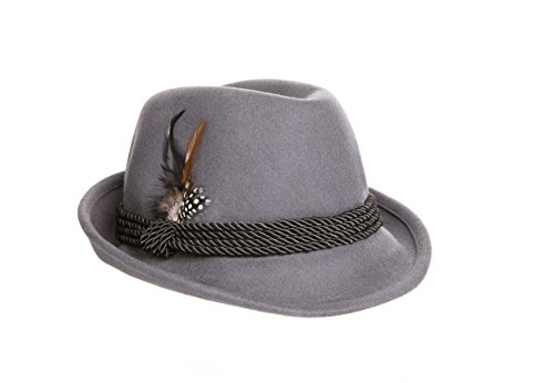 [Holiday Oktoberfest Wool Bavarian Alpine Hat - Gray Color - Size Extra Large] (Extra Head Costume)