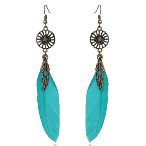Seattle Mariners Hanging (Yuriao Jewelry Elegant Retro Feather Leaf Dangle Earrings£¨blue£)