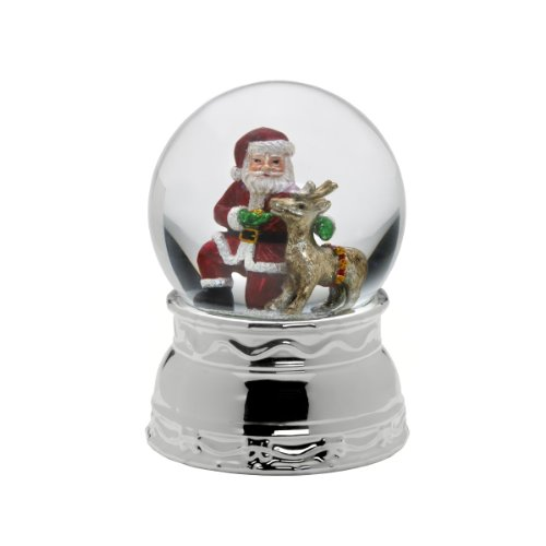 Celebrations by Mikasa Musical Santa and Reindeer Snow Globe, 6.75-Inch