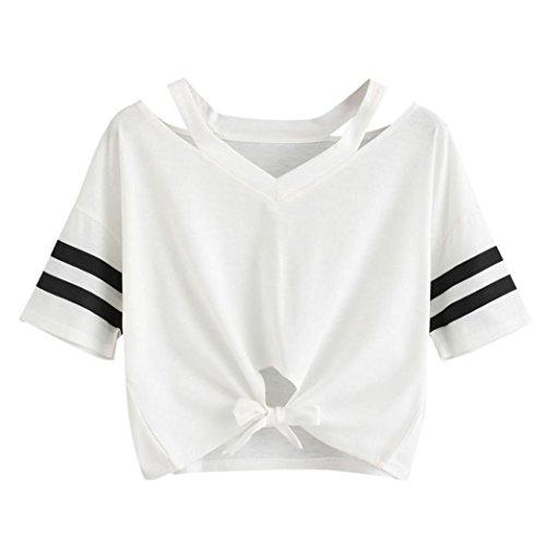 M Gilet Chemise Filles Courtes Tops Dames T Blouse D't Casual Vtements Gilet Yanhoo Femmes Blouse Dames cou Shirt Manches Femmes Court Rond Casual O Tops Dbardeur Shirt T Col Blanc Femmes Blanc 6wqHCnF