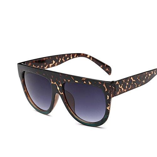 Buildent(TM) Flat Top Mirror Sun Glasses Cat Eye Sunglasses Women French brand Design oculos De Sol Vintage Sun glasses Female Rivet Shades [ Leopard Green - Sunglasses French Brands