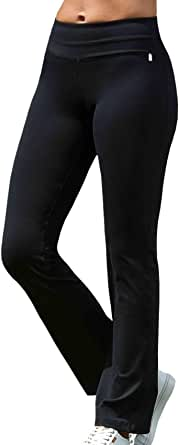 LaSculpte Womens Recycled Eco Friendly Shapewear Wide Leg Yoga Pants High Waist Sports Fitness Gym Workout Boot Cut Leggings Long Bootleg Flare Pants with Pockets, Black, 08-18