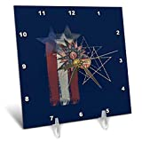 3dRose Beverly Turner Patriotic Design - Aged Colors Painted Look Stars, Stitches, America Button, Stripes - 6x6 Desk Clock (dc_287048_1)