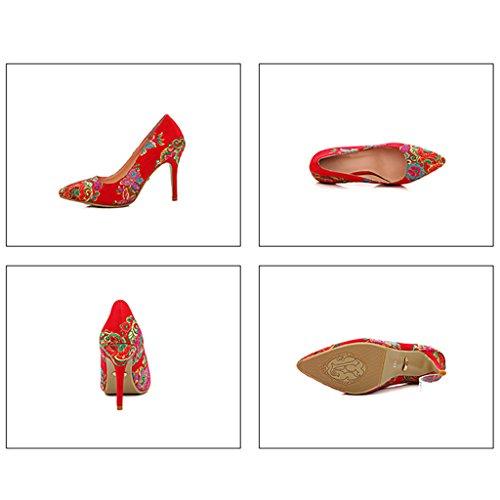 ALUK- Brautschuhe / Hochzeitsschuhe / hochhackige Schuhe / Show Wo Hochzeitsschuhe / fein mit / Stickerei / Schuhe / Bankettschuhe ( Farbe : With high 9.5cm , größe : 34-Shoes long220mm ) With High 7.5cm