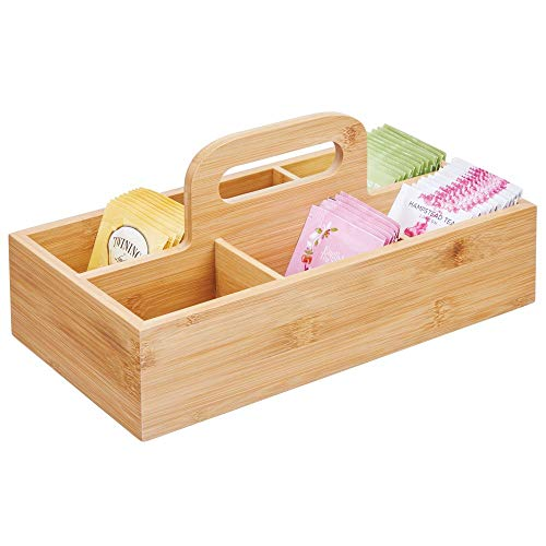 mDesign Bamboo Wood Compact Tea Storage Organizer Caddy Tote Bin - 6 Divided Sections, Attached Handle - Holder for Tea Bags, Coffee, Packets, Sugar/Sweeteners and Small Packets - Natural