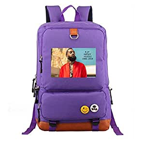 Asdfnfa Backpack, Nylon Men and Women Couple Rucksack Travel Sports Package Teen Men and Women Computer Packet Student School Bags (Color : Purple)