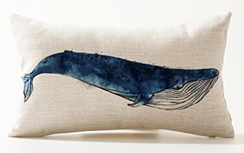 Andreannie Ink Painting Blue Sea Animals Gray Whale Marine Organisms Cotton Linen Waist Lumbar Pillow Case Cushion Cover Personalized Home Office Decorative Rectangle 12 X 20 Inches