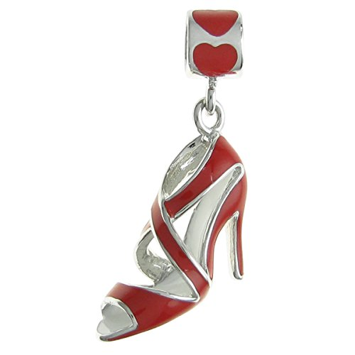 Enamel Shoe Charm Bracelet (Rhodium-plated Sterling Silver Red High Heel Shoe Enamel European Style Dangle Bead Charm)