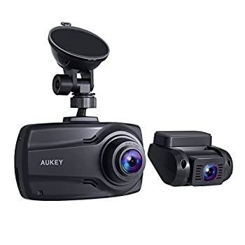 """Image of Car Video AUKEY 1080P Dual Dash Cams with 2.7"""" Screen, Full HD Front and Rear Camera, 6-Lane 170° Wide-Angle Lens, G-Sensor, and Dual-Port Car Charger"""