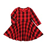 Toddler Kids Baby Girls Plaid Dress Long Sleeve Princess Checked Party Dresses Cotton Outfits(9-12 Months, Red)