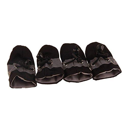 Alamana 4Pcs/Set Dog Cat Winter Warm Rain Boots Protective Waterproof Pet Sports Anti-Slip Shoes Black 7