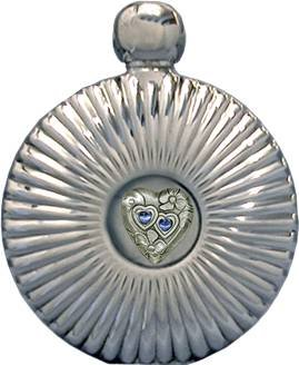 5 oz 'Double Hearts' Round Flare Flask Mirror Finish