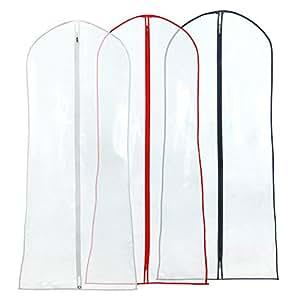 Hangerworld Juego de 3 Fundas para Vestidos de Fiesta, Trajes etc. Transparente. Largo 183cm