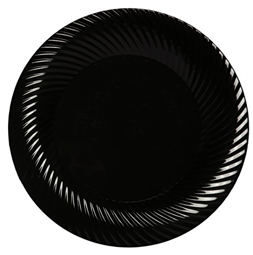 Party Joy 'I Can't Believe It's Plastic' 200-Piece Plastic Salad Plate Set | Swirl Collection | Heavy Duty Premium Plastic Plates for Wedding, Parties, Camping & More (Black) - Swirl Salad Plate Set
