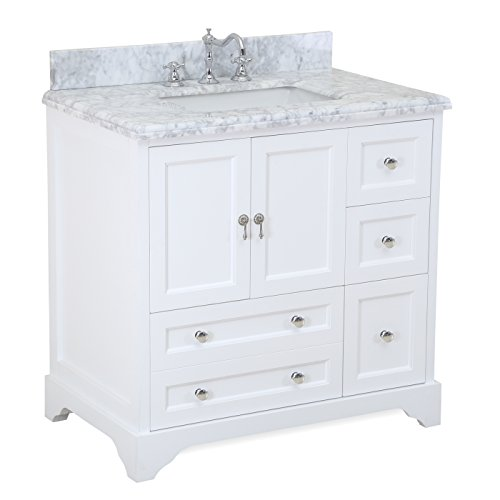 Madison 36-inch Bathroom Vanity (Carrara/White): Includes Italian Carrara Marble Top, White Cabinet with Soft Close Drawers & Doors, and Rectangular Ceramic Sink
