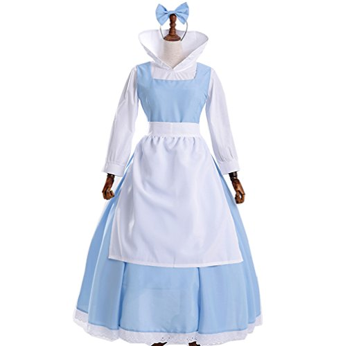 Sinastar Halloween Belle Princess Blue Maid Dress Cosplay Costume Movie Role Play Dress (Medium)