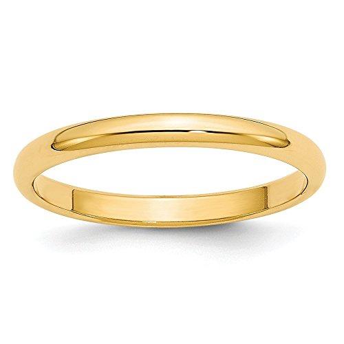 14K Yellow Gold 2.5mm Half Round Band Size 5.5