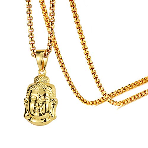 Fusamk Fashion Religion Stainless Steel Buddha Head Tag Pendant Necklace,22inches Chain(Gold)
