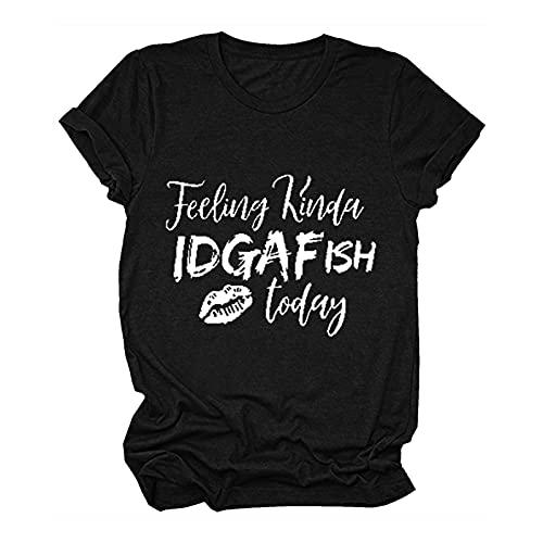 Keepfit Feeling Kinda IDGAF-ish Today T-Shirt Women Funny Saying Shirts Letter Print Short Sleeve Summer Tee Tops, 2021 New