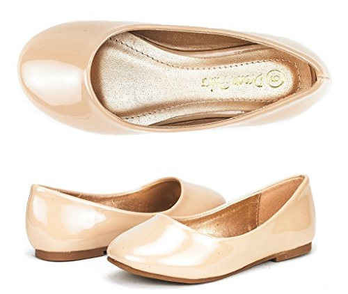 Dream Pairs MUY Mary Jane Casual Slip On Ballerina Flat (Toddler/ Little Girl) New Nude Patent Size 12