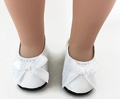c001b84e2b412 Dori's Doll Boutique 2 pack Shiny Dress Shoes-White and Black for 14 ...
