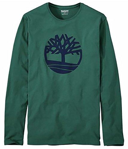 (Timberland Men's Long Sleeve Tree Logo Organic Cotton T-Shirt (Forest Green, Large))