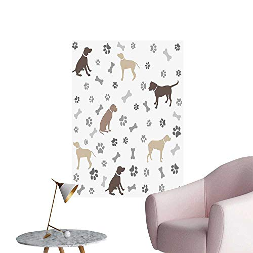 Dog Lover Wall Mural Wallpaper Stickers Paw Print Bones and Dog Silhouettes American Foxhound Breed Playful Pattern Boys Kids Bedroom Umber Beige Grey W32 x H48 (Dragon City Best Dragons To Breed)