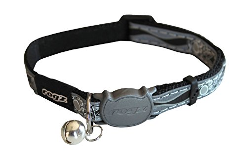 Rogz Reflective Cat Collar with Breakaway Clip and Removable Bell, fully adjustable to fit most breeds, Black Paw Design