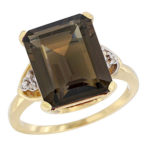 Gold Vibrant Octagon Gemstone - 14K Yellow Gold Diamond Natural Smoky Topaz Ring Octagon 12x10 mm, size 5.5