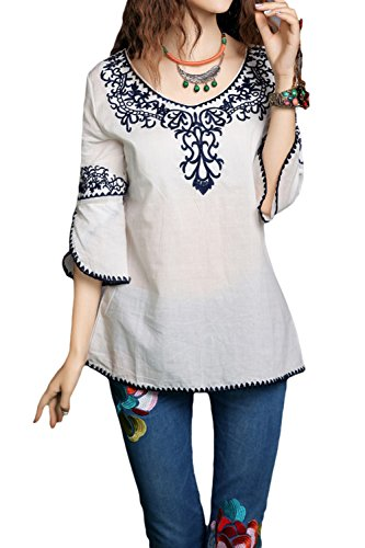 Asher Bell Sleeve Embroidered Peasant Tops Cotton Mexican Blouse (One Size, White)
