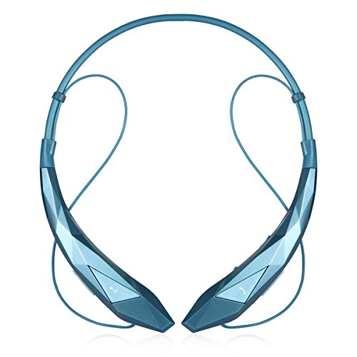 LeadTry Music Bluetooth Headphones Wireless Sport Stereo In-ear Noise Cancelling Earphone Headset Running Gym Exercise Earbud Neckband with Microphone for Apple Iphone Ipad Samsung Sony Blue