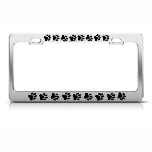 Dog Paw Paws Print Animal License Plate Frame Stainless Metal Tag (Dog Paw Metal License Plate Frame)
