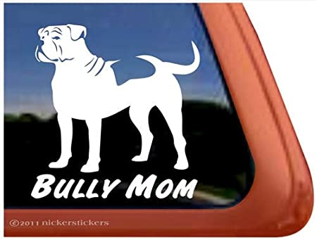 Bully Mom ~ American Bulldog Vinyl Window Decal Sticker