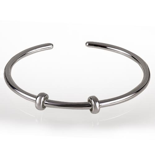 Hoobeads Jewelry European Style Authentic 925 Sterling Silver Bangle Bracelets with 2 Stopper Beads (7.1inch)¡