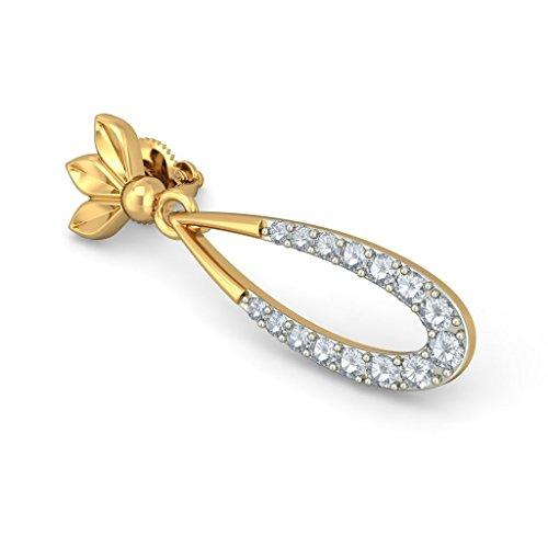 14K Or jaune 0,26CT TW White-diamond (IJ | SI) Pendants d'oreilles
