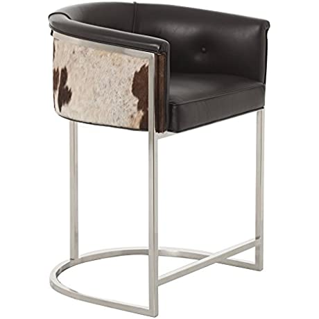 Calvin Top Grain Hair On Hide Black Leather Art Deco Counter Stool