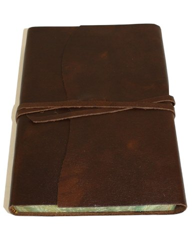 Roma Luxury Chocolate Italian Leather Journal with Marble Edged Paper - 14 x 21 - Leather Journal Edged Italian