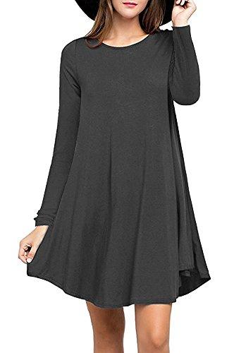 LILBETTER Damen Mini kleid Rundhals Stretch Casual Kleider 01 Grau langarm wYslY